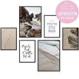 Heimlich Tableau Décoration Murale - Set de Poster Premium pour la Maison, Bureau, Salon, Chambre, Cuisine - 2 x A3 (30x42cm) et 4 x A4 (21x30cm) | sans Cadres » Beach Time «