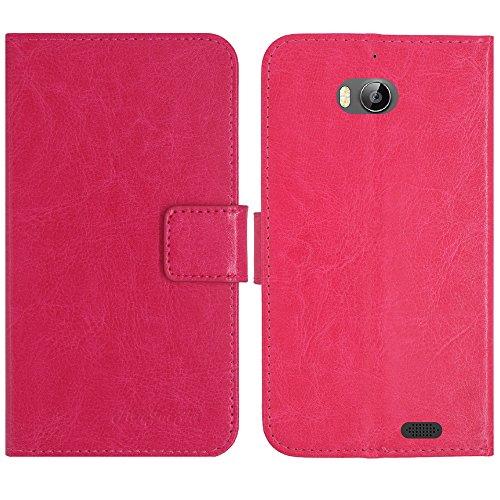 TienJueShi Rosa Flip Book-Style Brief Leder Tasche Schutz Hulle Handy Hülle Abdeckung Fall Wallet Cover Etui Skin Fur TP-Link Neffos C5 Max 5.5 inch