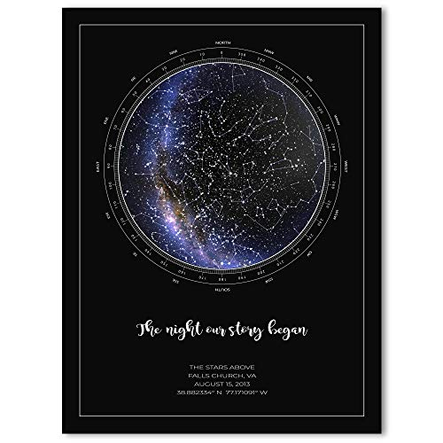The Stars Above Co Custom Star Map, Realistic Night Sky Map, Personalized Star Poster, Constellation Map, Personalized Gift, Unframed Print (Black)