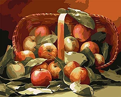 Painting by Numbers KitKits For Adults Basketpple Leas Fruit Linen -(40x50cm)With FrameChristmas, Thanksgiving, Halloween gifts