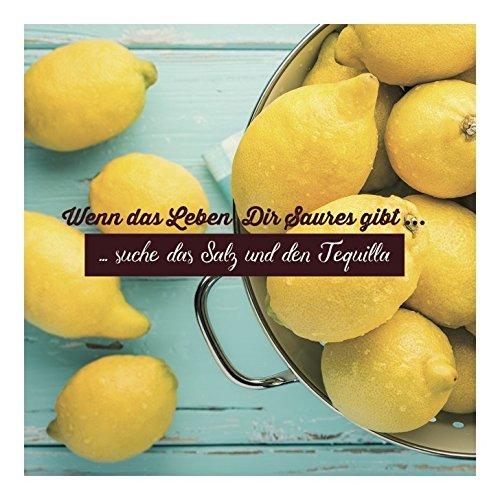Set 3 Postkarte Wenn das Leben Dir Saures gibt ... suche das Salz und den Tequilla 13,5x13,5 cm bunt