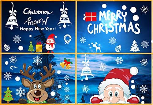 Wishstar Pegatinas Navidad Ventanas, Decoracion Navidad Escaparates, Adornos Navideños para Casa, Vinilos Navidad Rudolph Santa Claus Elk Extraíble PVC Pegatinas