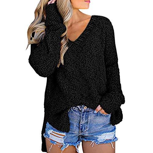 YZANYFQH Herbst Und Winter Frauen Korn Samt V-Ausschnitt Split Pullover Sweater Frauen