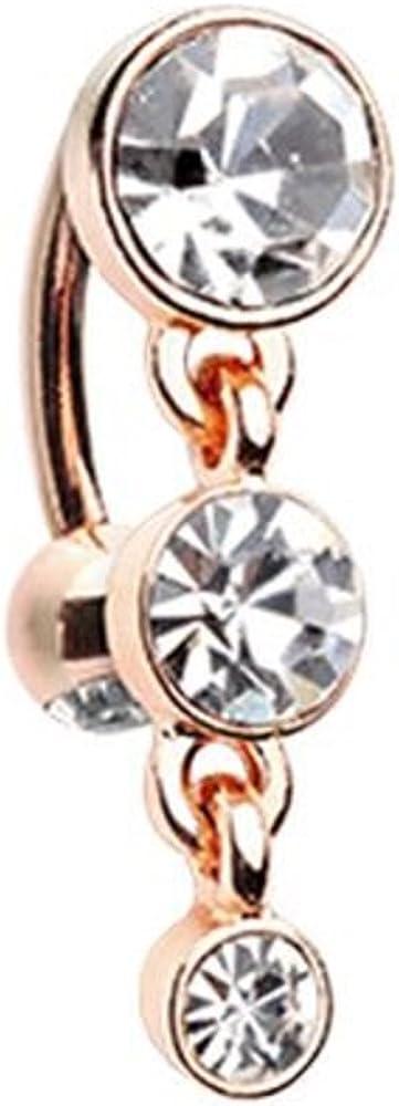 Rose Gold Triple Crystalline Reverse WildKlass Belly Button Ring