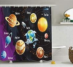 Outer Space Decor Shower Curtain Set, Solar System of Planets Milk Way Neptune Venus Mercury Sphere Horizontal Illustratio...