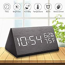 Greenke Alarm Clock Wooden Alarm Clock Large Digital Desk Voice Control Electronic Time Humidity Temperature Display for Bedroom Office & Home Black