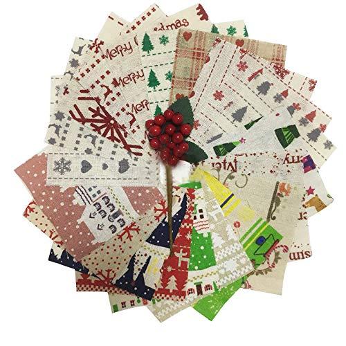 """Qpout 20 Stück 9,8\""""x 9,8\"""" Quiltstoff Quadrate Bündel Leinenstoff Vorgeschnittener Stoff Weihnachten zum Nähen Saisonale Festival-Art Patchwork Nähzubehör Stoff"""