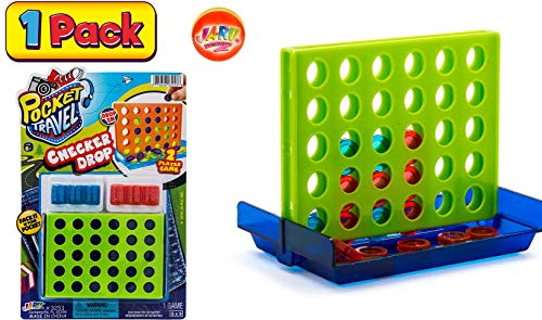 Checker Drop Connect Travel Mini Portable Pocket Board Games (Pack of 1) by JARU. Assortment of Classic Toys Party Favors Checkers Toy| Item #3253-1p