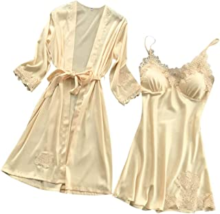 Fankle Sleepwear for Women Sale 2-Pieces Satin Silky Lace Robe and Nightdress Babydoll Pajama Set
