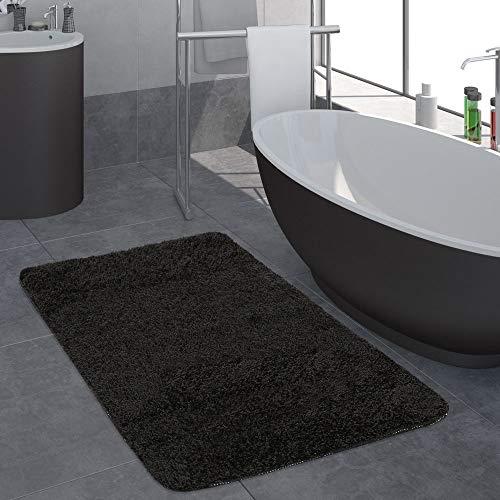 Paco Home Moderner Badezimmer Teppich Einfarbig Hochflor Badteppich rutschfest In Schwarz, Grösse:60x100 cm