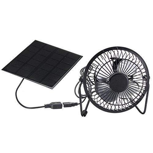 SODIAL Ventilador de refrigeracion USB de 4 pulgadas de Alta calidad de Funciona con energia solar Ventilador de hierro Para El uso en casa Oficina al aire libre El Viaje Pesca