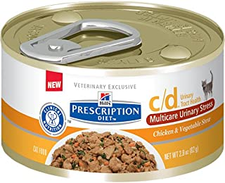 Hill`s Pet Nutrition C/D Multicare Urinary Care Chicken & Vegetable Stew Canned Cat Food, 2.9 oz, 24 Pack Wet Food