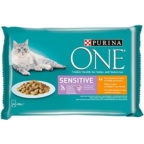 ONE Sensitive mit Huhn und Karotten Katzennassfutter Portionsbeutel, 4er Pack (4 x 85 g)