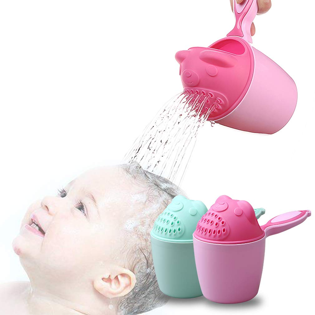 Rinse Shampoo Rinser Baby Rinse Cup Baby Bath Rinser Wash Hair Cup by Protecting Infant Eyes (Bear-Pink)