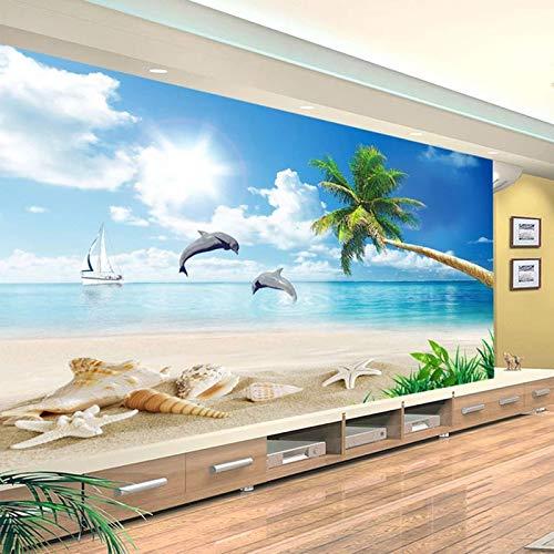 Msrahves Foto Mural Pared 3D Cielo azul nubes blancas playa cocoteros. Fotomural Vinilo de Pared Paredes Decoración Hogar fotomurale 3d fotomurale da parete fotomurales decorativos pared papel pintado