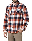 American Outdoorsman Men's Long-Sleeve Flannel Shirt, Western Plaid Button-Down Clothing/Apparel (Large, Orange Navy)