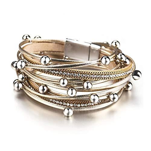 GLANGYU Piel de Metal Pulseras Encanto de los Granos cristalinos de la Manera Mujeres de la Cadena de joyería de Bohemia de múltiples Capas de la Pulsera del Abrigo Mujer Joyería (Metal Color : Gold)
