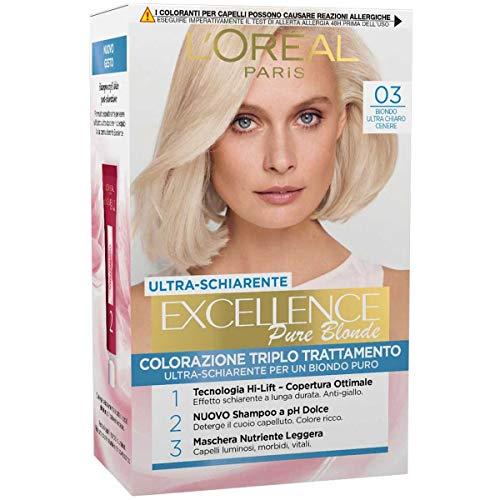 L'Oréal Paris Excellence Creme, Tinta Colorante con Triplo Trattamento Avanzato, Copre i Capelli Bianchi per un Risultato a Lunga Durata, 03 Biondo Ultra Chiaro Cenere