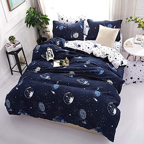 Omela Bettwäsche Kinder 140x200 Jungen Planeten Sterne Weltraum Universum Blau Weiß Wendemotiv Bettbezug 2 Teilig Kinderbettwäsche Set mit Kissenbezug 70x90 cm Reißverschluss