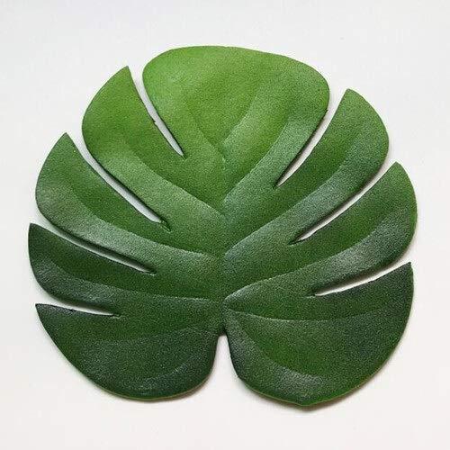 HUIJUNWENTI 6pc Tropical Artificial Palmblätter Untersetzer Cup Bowl-Auflage-Matte Kaffee-Tee-Cup Mats Untersetzer Hawaii-Thema-Partei-Dekor (Color : Round Gap Leaf)