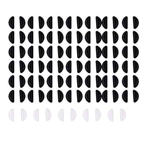 EXCEART 35 Paires de Coussinets de Nez de Lunettes Plaquettes de Nez en Silicone Antidérapantes pour Lunettes Et Lunettes de Soleil (Noir 30 Paires Et Transparent 5 Paires)
