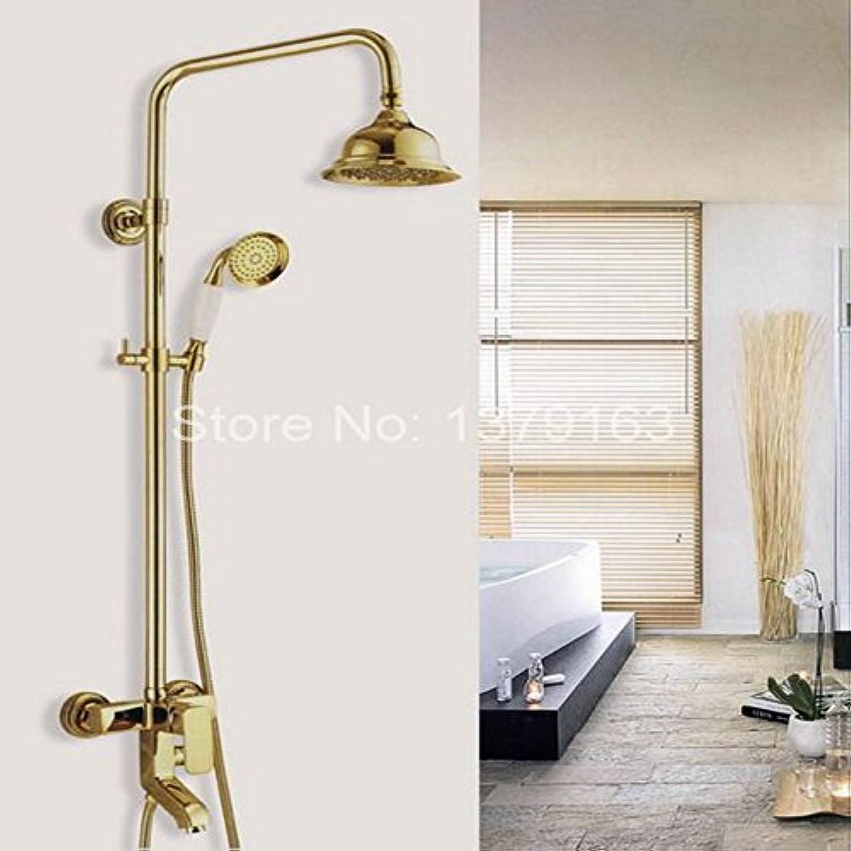 Luxurious shower Gold Farbe Messing poliert Wandmontage einzigen Griff Bad Regendusche und Badewanne Armatur Mischbatterie agf 045, Gelb