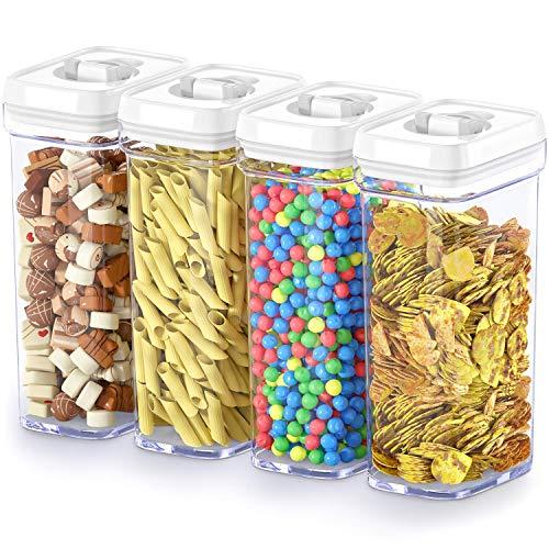 Boîte de conservation alimentaire avec couvercles – Plastique hermétique sans BPA pour garder les aliments frais et secs avec étiquettes et marqueur à craie middle-1.7L Noir