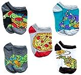 Nickelodeon Little Boy's Teenage Mutant Ninja Turtles 5 Pack Character Socks, Shoe Size 7-10, Black