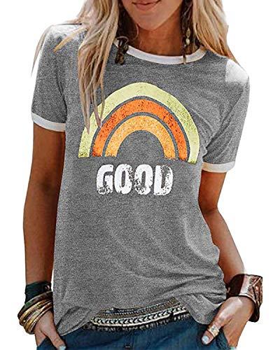 heekpek Good Vibes Shirt Damen ärmellose Oberteile Sommer Regenbogen T-Shirt Grafik Tanks Top Rundhals Trainings Weste