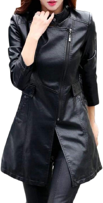 TymhgtCA Women FauxLeather Slim Fit Overcoat Mid Long Oblique Zip Jackets