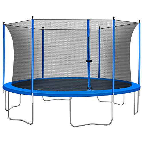 12FT 15FT Trampoline , 660/860LBS Weight Capacity for Kids Adults,Outdoor Trampolinewith Safety Enclosure Net ,Jumping Mat,Spring Cover Padding ,Backyard Trampoline for Exercise Fitness (12FT)