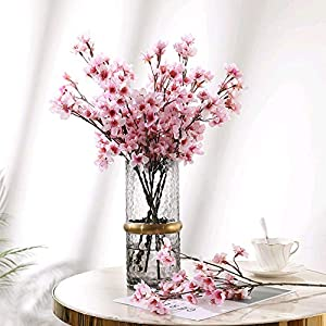 HO2NLE 4PCS Artificial Flowers Branches Faux Silk Cherry Blossoms Stem Fake Floral for Home Garden Restrant Hotel Parties Wedding Table Centenpieces Arrangements Decor Spray in Pink