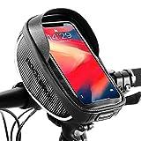 ROCKBROS Borsa Impermeabile Porta Cellulare 6.5 Pollici, Borsa Telaio Manubrio 1 L per Bicicletta Custodia Smartphone TPU Touchscreen, Copertura Antipioggia in Regalo Accessori Bici MTB