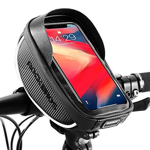 ROCKBROS Fahrrad Rahmentasche Wasserdicht Lenkertasche Oberrohrtasche mit TPU Touchscreen Handyhalterung mit Regenschutz für Smartphone unter 6,5 Zoll