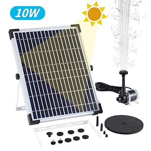 RONGJJ Radar 10W Solar Springbrunnen, Mit 8 Fontänenstile für Garten, Vogel-Bad,Teich,Fisch-Behälter, Wasserpumpe Solar Schwimmender Fontäne Pumpe Freien