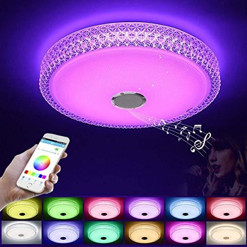 HAITOY Luz de Techo Industrial Altavoz Bluetooth, Control Remoto/Control de aplicación, IP54 Impermeable, Lámpara de Techo para baño, habitación Infantil y Sala,53W