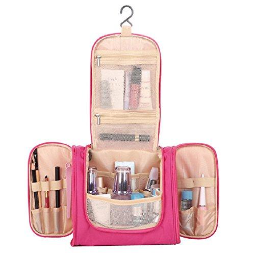 Kosmetiktasche Zum aufhängen Wasserdichte Multifunktions-Compact Reisetasche Faltbar WC-Tasche Kulturbeutel (Rose)
