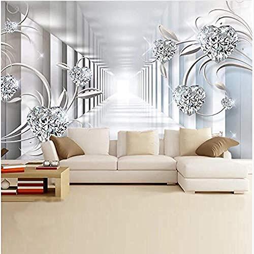 Papel pintado Mural Papel tapiz de habitación Espacio abstracto Europa Flor Joya Parpadeo Papel tapi Pared Pintado Papel tapiz 3D Decoración dormitorio Fotomural sala sofá pared mural-300cm×210cm