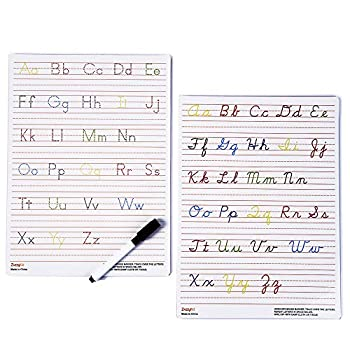 Handwriting Practice Letter Tracing for Kids  Board for Cursive & Printing Style with Dry Erase Marker for Preschooler - Reusable Wipe Clean ABC Alphabet Learn to Write 8.3 x 11 Inches