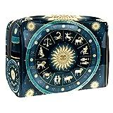 Bolsa de Maquillaje Horóscopo de la constelación Bolsa Cosmetica Portátil Viaje de Maquillaje Organizador Bolsa de Almacenamiento de Maquillaje 18.5x7.5x13cm
