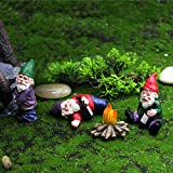 MUAMAX Juego de gnomos de jardín en miniatura de 3 figuras de gnomos de hadas para accesorios de jardines de hadas, divertidos gnomos en miniatura para beber, pequeños mini gnomos