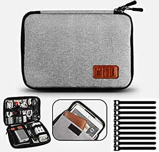 Electronic Organizer Waterproof Portable Travel Cable Accessories Bag Soft Case with 10pcs Cable Ties for USB Drive Phone ...