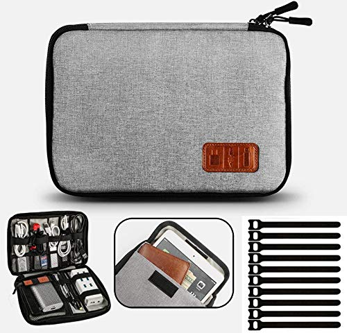 Electronic Organizer Waterproof Portable Travel Cable Accessories Bag Soft Case with 10pcs Cable Ties for USB Drive Phone Charger Headset Wire SD Card Power Bank(Grey)