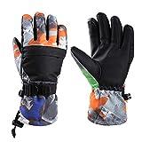 Magarrow スキーグローブ 子供用 スノーボード グローブ 手袋 男の子 女の子 防寒 防風 手袋 (ブラック, S(10~12Y))