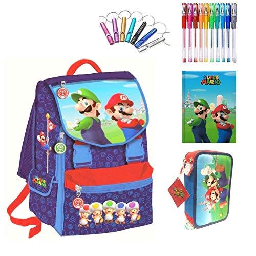 Schulrucksack Super Mario und Luigi Deluxe Version Reise + Federmäppchen mit 3 Etagen komplett + Tagebuch + Pfeife + Gratis Farbstift