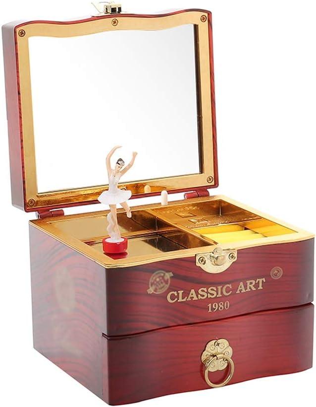 sararui Caja de Música Joyero de música Dulce con cajón extraíble y Caja de almacenaje de Joyas de Ballet Girl. Cajas Musicales (Color : Brown)