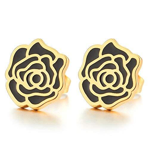Oro Negro Planas Rosa Flor Pendientes de Mujer Niñas, Acero Inoxidable, 2 Piezas