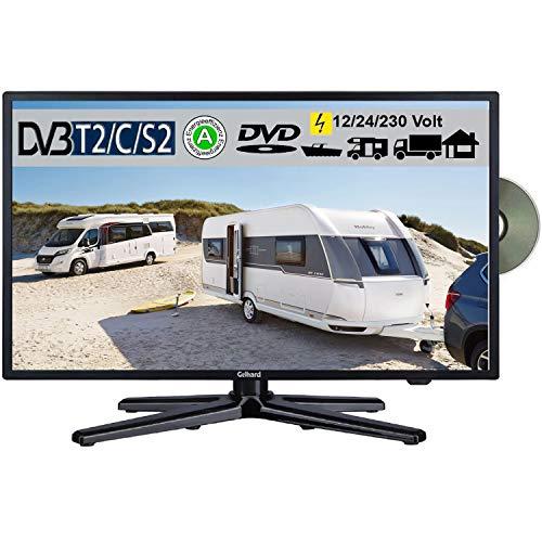 Gelhard GTV-2282 LED 22 Zoll Wide Screen TV DVD DVB/S/S2/T2/C 230/12 Volt 24 Volt für Wohnmobil Camping KFZ LKW Truck und Zuhause