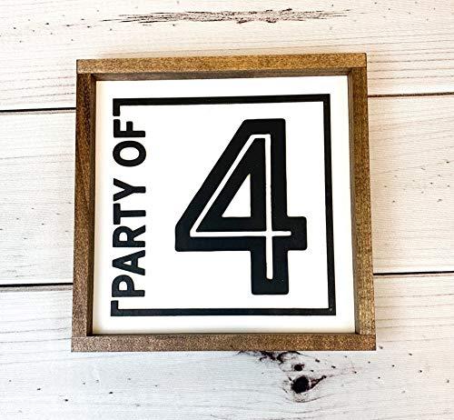 Ced454sy Party of Sign Party of 4 Party of 5 Party of 6 quarantena in legno rialzato cartello casa agricola 9x 9 legno segno decorazione primavera