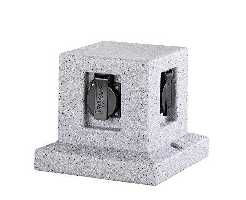 Trio Leuchten Steen, steengrijs 4-delige stopcontact kubus 19.5 x 19.5 x 17 cm steengrijs